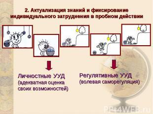 2. Актуализация знаний и фиксирование индивидуального затруднения в пробном дейс