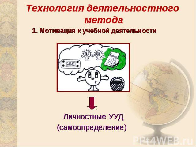 Технология деятельностного метода1. Мотивация к учебной деятельностиЛичностные УУД(самоопределение)