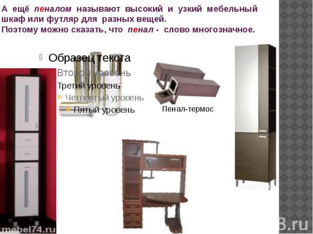 А ещё пеналом называют высокий и узкий мебельный шкаф или футляр для разных вещей.Поэтому можно сказать, что пенал - слово многозначное.