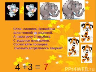 Слон, слониха, 2слонёнкаШли толпой на водопой. А навстречу 3 тигрёнкаС водопоя ш