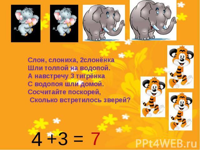 Слон, слониха, 2слонёнкаШли толпой на водопой. А навстречу 3 тигрёнкаС водопоя шли домой. Сосчитайте поскорей, Сколько встретилось зверей?