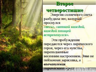 Второе четверостишие Энергия солнечного света разбудила лес, который проснулся «