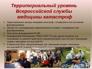 Территориальный уровень Всероссийской службы медицины катастрофТерриториальные ц