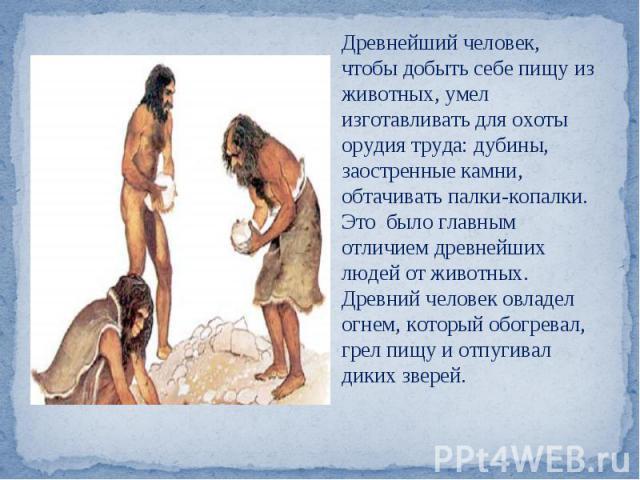 Древнейший человек, чтобы добыть себе пищу из животных, умел изготавливать для охоты орудия труда: дубины, заостренные камни, обтачивать палки-копалки.Это было главным отличием древнейших людей от животных. Древний человек овладел огнем, который обо…