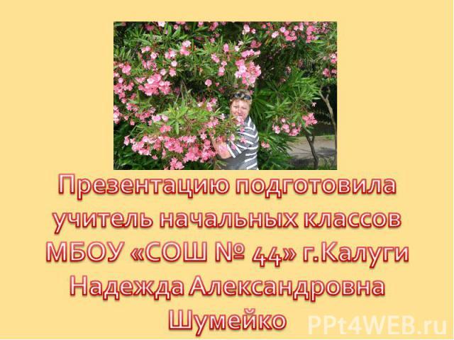 Презентацию подготовилаучитель начальных классовМБОУ «СОШ № 44» г.КалугиНадежда АлександровнаШумейко