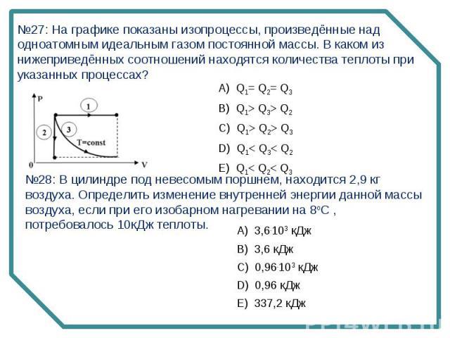 №27: На графике показаны изопроцессы, произведённые над одноатомным идеальным газом постоянной массы. В каком из нижеприведённых соотношений находятся количества теплоты при указанных процессах?№28: В цилиндре под невесомым поршнем, находится 2,9 кг…