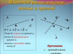 Взаимное расположение точки и прямой А В СВ Є а; А Є а; С Є а.Точка В лежит на п