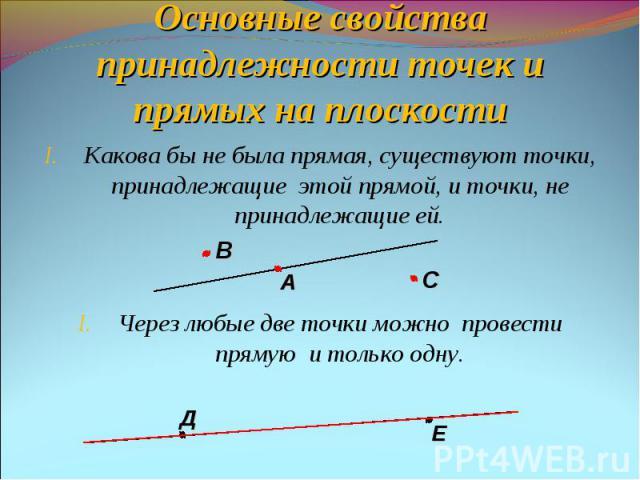 Основные свойства принадлежности точек и прямых на плоскостиКакова бы не была прямая, существуют точки, принадлежащие этой прямой, и точки, не принадлежащие ей.Через любые две точки можно провести прямую и только одну.