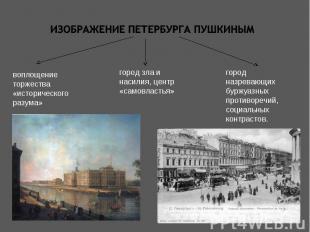 Изображение петербурга пушкинымвоплощение торжества «исторического разума»город