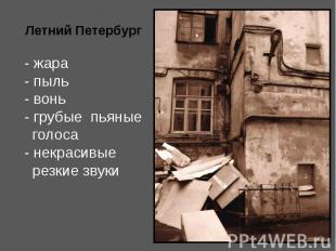 Летний Петербург - жара - пыль - вонь - грубые пьяные голоса - некрасивые резкие