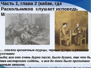 Часть 1, глава 2 (кабак, где Раскольников слушает исповедь Мармеладова«… стояли