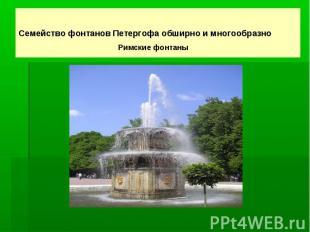 Семейство фонтанов Петергофа обширно и многообразно