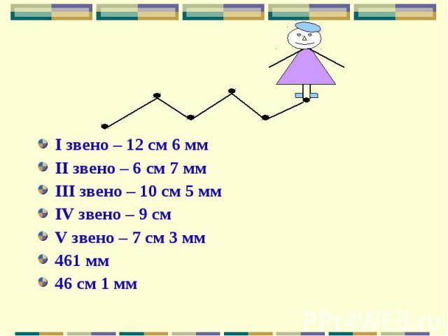 I звено – 12 см 6 ммII звено – 6 см 7 ммIII звено – 10 см 5 ммIV звено – 9 смV звено – 7 см 3 мм461 мм46 см 1 мм
