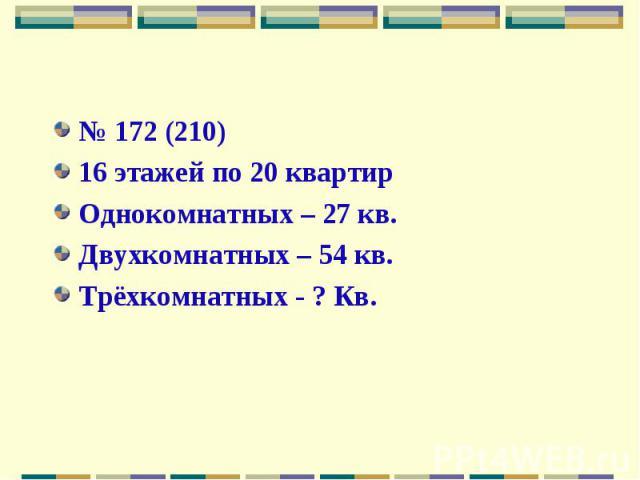 № 172 (210)16 этажей по 20 квартирОднокомнатных – 27 кв. Двухкомнатных – 54 кв. Трёхкомнатных - ? Кв.