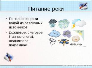 Питание реки Пополнение реки водой из различных источниковДождевое, снеговое (та