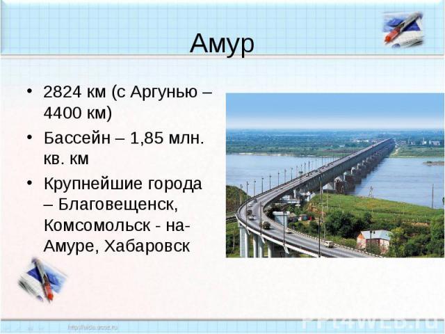 Амур2824 км (с Аргунью – 4400 км)Бассейн – 1,85 млн. кв. кмКрупнейшие города – Благовещенск, Комсомольск - на-Амуре, Хабаровск
