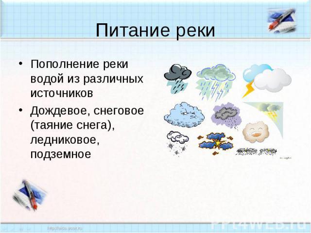 Питание реки Пополнение реки водой из различных источниковДождевое, снеговое (таяние снега), ледниковое, подземное