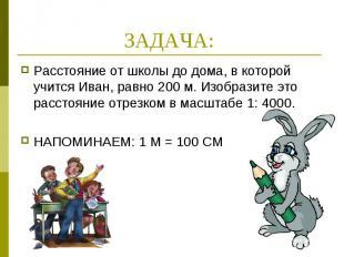 ЗАДАЧА: Расстояние от школы до дома, в которой учится Иван, равно 200 м. Изобраз