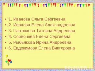 Родительский комитет:1. Иванова Ольга Сергеевна2. Иванова Елена Александровна3.