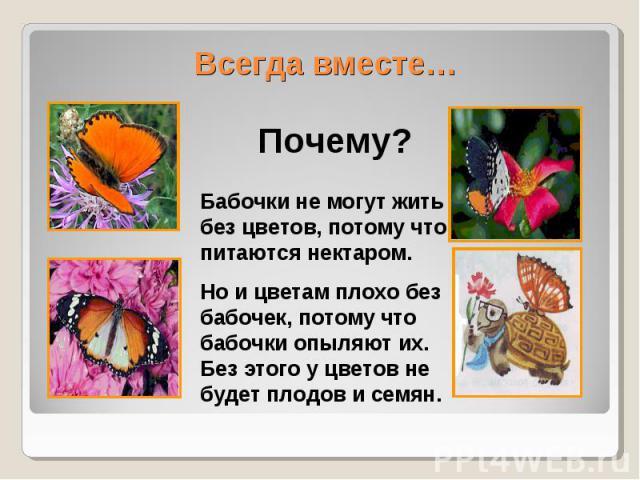 Всегда вместе…Бабочки не могут жить без цветов, потому что питаются нектаром.Но и цветам плохо без бабочек, потому что бабочки опыляют их. Без этого у цветов не будет плодов и семян.