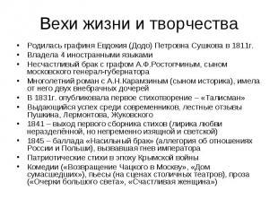 Вехи жизни и творчестваРодилась графиня Евдокия (Додо) Петровна Сушкова в 1811г.