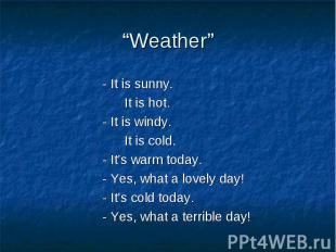 """Weather""- It is sunny. It is hot.- It is windy. It is cold.- It's warm today.-"