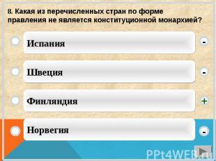 8. Какая из перечисленных стран по форме правления не является конституционной м