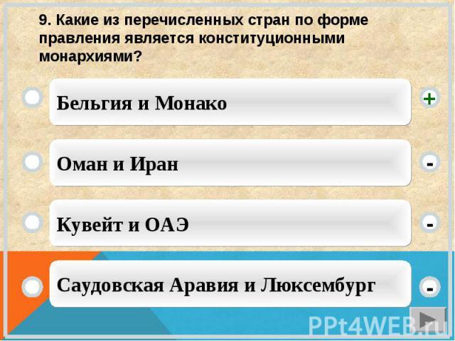 9. Какие из перечисленных стран по форме правления является конституционными монархиями?