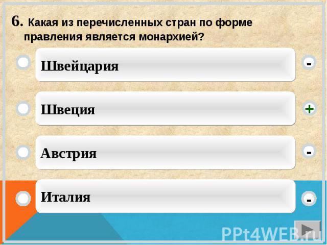 6. Какая из перечисленных стран по форме правления является монархией?