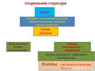 Социальная структураМладшие члены княжеского родаУправляли малыми городами Внутр