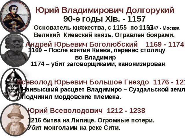 Юрий Владимирович ДолгорукийОснователь княжества, с 1155 по 1157 Великий Киевский князь. Отравлен боярами.Андрей 1169 – После взятия Киева, перенес столицу во Владимир1174 – убит заговорщиками, канонизирован.Всеволод Юрьевич Большое Гнездо 1176 - 12…