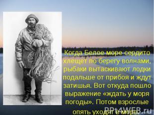 Когда Белое море сердито хлещет по берегу волнами, рыбаки вытаскивают лодки пода