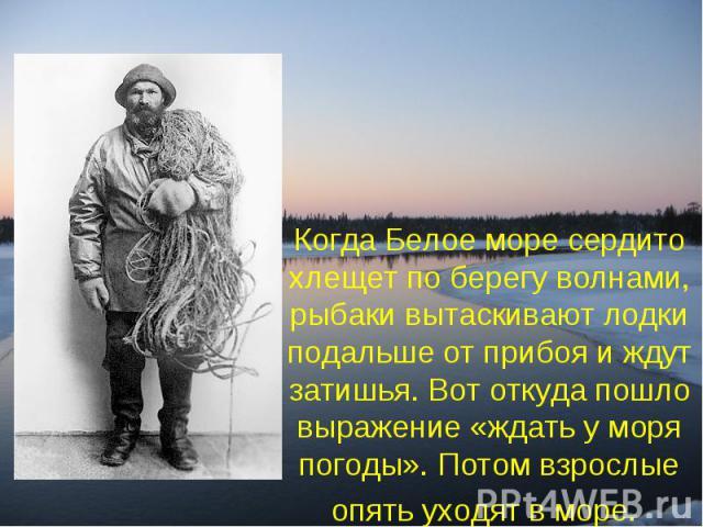 Когда Белое море сердито хлещет по берегу волнами, рыбаки вытаскивают лодки подальше от прибоя и ждут затишья. Вот откуда пошло выражение «ждать у моря погоды». Потом взрослые опять уходят в море.