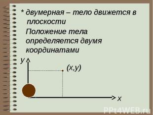 * двумерная – тело движется в плоскостиПоложение телаопределяется двумя координа