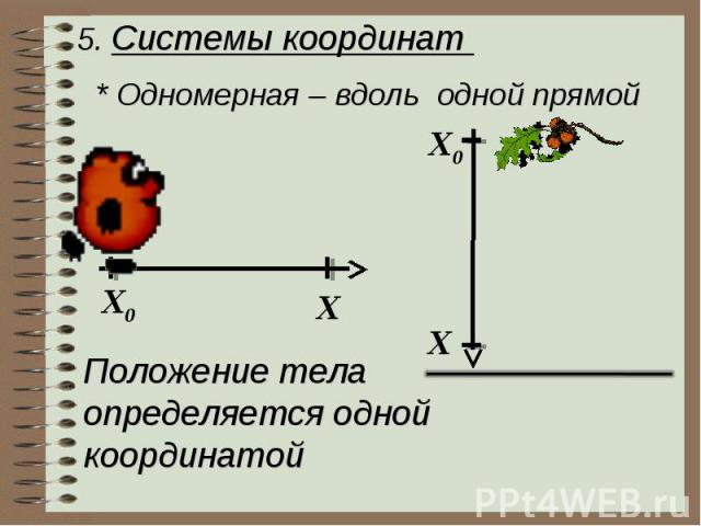 5. Системы координат * Одномерная – вдоль одной прямой Положение телаопределяется одной координатой
