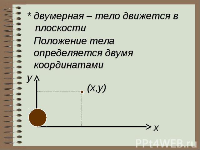 * двумерная – тело движется в плоскостиПоложение телаопределяется двумя координатами