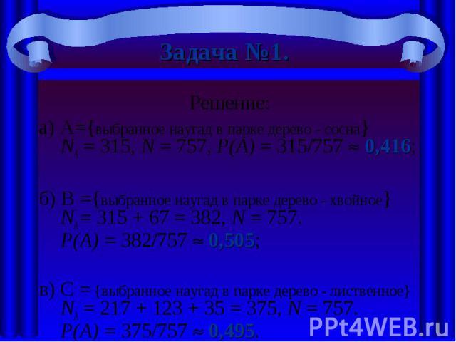 Задача №1. Решение:а) A={выбранное наугад в парке дерево - сосна} NА = 315, N = 757, Р(А) = 315/757 0,416;б) В ={выбранное наугад в парке дерево - хвойное} NА = 315 + 67 = 382, N = 757.Р(А) = 382/757 0,505;в) C = {выбранное наугад в парке дерево - л…