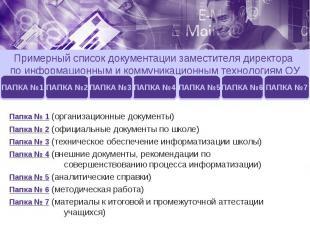 Примерный список документации заместителя директора по информационным и коммуник