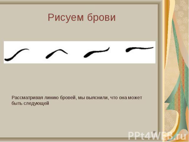 Рисуем бровиРассматривая линию бровей, мы выяснили, что она может быть следующей
