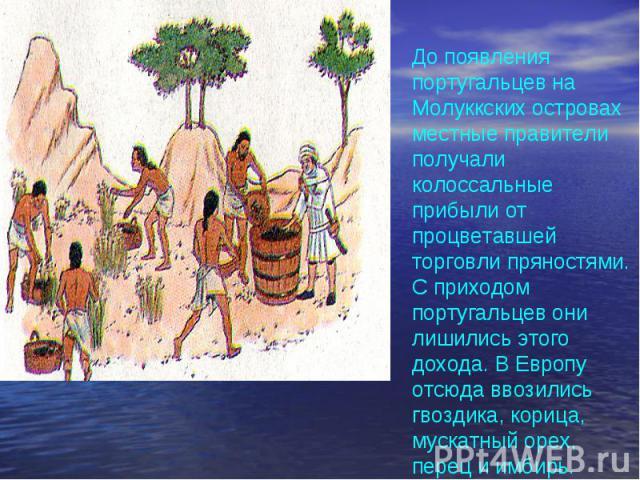 До появления португальцев на Молуккских островах местные правители получали колоссальные прибыли от процветавшей торговли пряностями. С приходом португальцев они лишились этого дохода. В Европу отсюда ввозились гвоздика, корица, мускатный орех, пере…