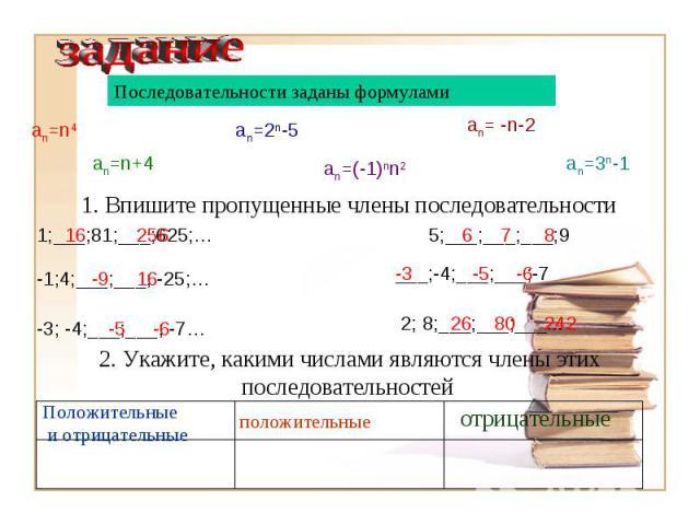 Последовательности заданы формулами1. Впишите пропущенные члены последовательности2. Укажите, какими числами являются члены этих последовательностей