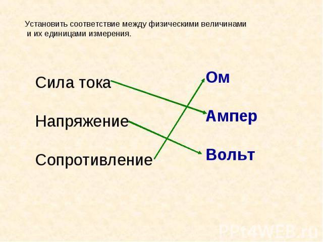 Установить соответствие между физическими величинами и их единицами измерения.Сила токаНапряжениеСопротивление