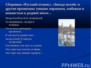 Сборники «Русский огонек», «Звезда полей» и другие пронизаны тонким лиризмом, лю