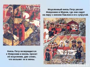 Исцеленный князь Петр увозит Февронию в Муром, где они сидят на пиру с князем Па