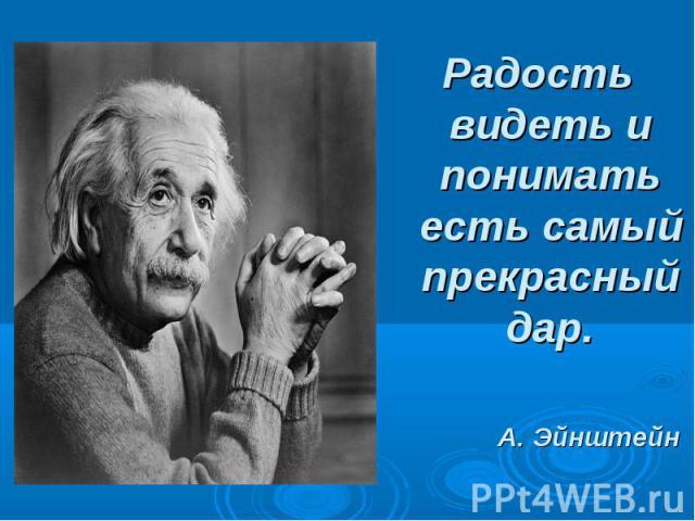 Радость видеть и понимать есть самый прекрасный дар.А. Эйнштейн