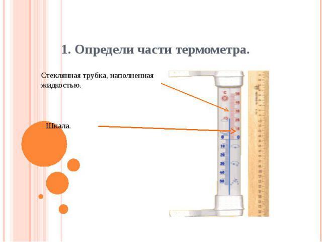 1. Определи части термометра.Стеклянная трубка, наполненная жидкостью.