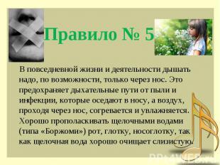 Правило № 5 В повседневной жизни и деятельности дышать надо, по возможности, тол