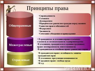 Принципы праваСправедливостьГуманизмДемократизмЮридическое равенство граждан пер