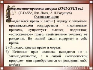 Естественно-правовая теория (XVII-XVIII вв.)(Т.Гоббс, Дж. Локк, А.Н.Радищев)Осно