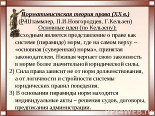 Нормативистская теория права (XX в.)(Р.Штаммлер, П.И.Новгородцев, Г.Кельзен)Осно